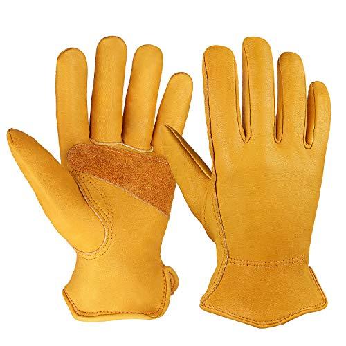 OZERO Flex Grip Leather Work Gloves...
