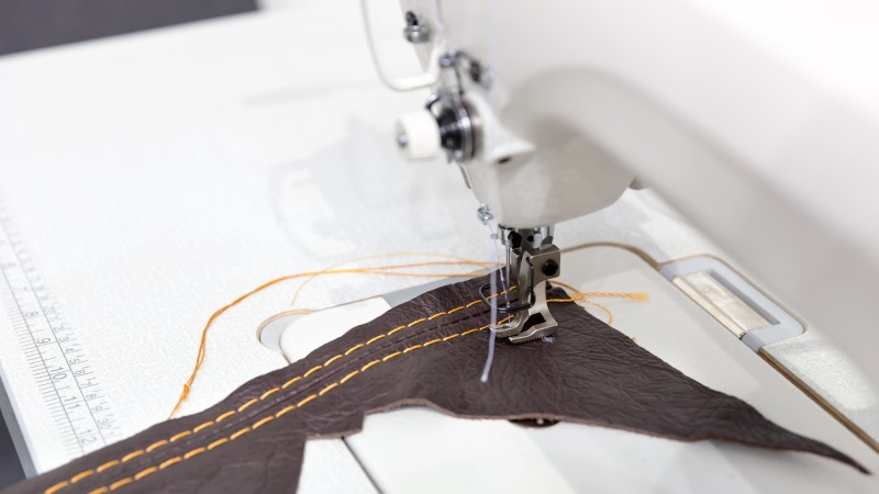 how to sew leather on a machine